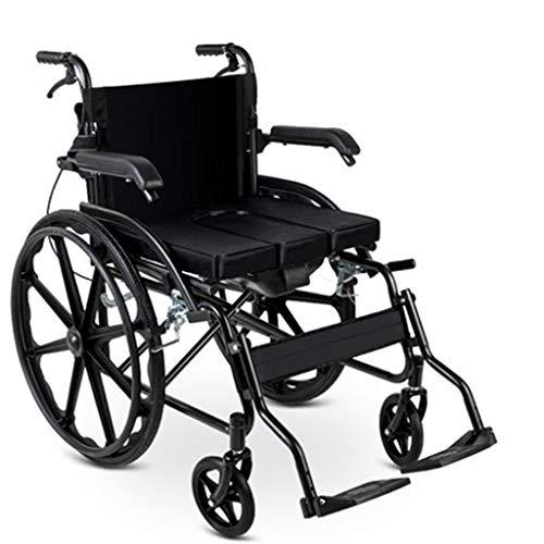 Wheelchair Stahl Rollstuhl-Push-verdickte Ausziehbare Bedpan leicht zu reinigen Geeignet for Senioren/Behinderte Menschen unter verschiedenen Straßenzustand (Color : Blue)