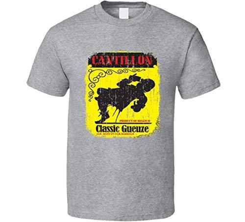 N/Y Cantillon Geuze Belgisches Bier Ale Lover Cool Worn Look T-Shirt Sport Grau Gr. 56, Schwarz