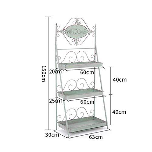 DWW 3 étages escalier en métal Cadre de Jardin Jardin en Fer forgé Plante Stand extérieur/intérieur Stand de Fleurs Grand Pot de Fleurs présentoir Vert