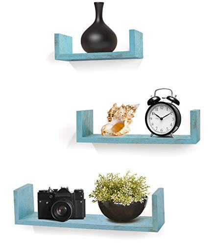 Greenco Set of 3 Floating U Shelves, Decorative, Rustic Blue Finish