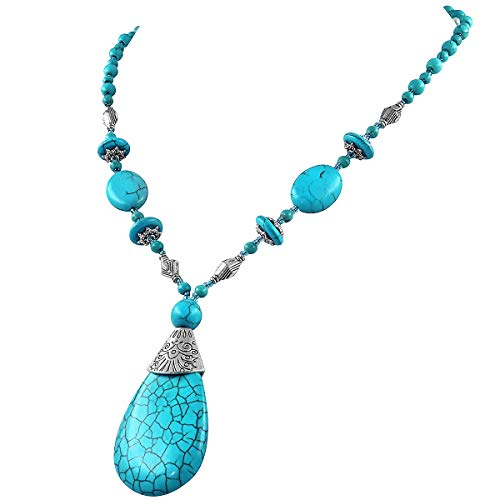 Suyi Long Pendant Turquoise Necklace for Women Bohemian Handmade Beaded Necklace Jewelry Drop-Shaped Turquoise2