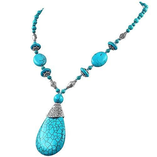 Suyi Collana Lunga Turchese con Ciondolo da Donna Gioielli della Collana di Perline Fatti a Mano della Boemia A Forma di Goccia Turquoise2