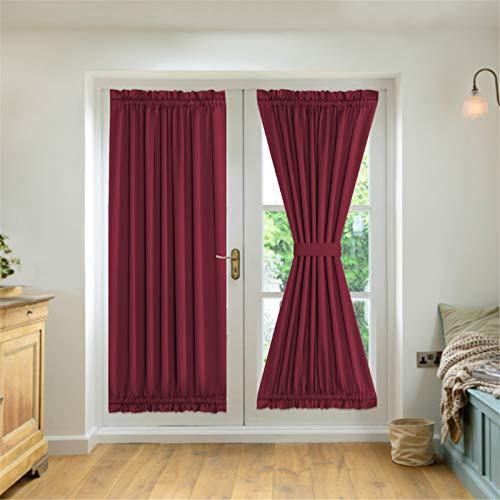 NOPEXTO Cortinas para Puertas Francesas,Cortinas Opacas De Salón para Puerta Aislantes Termicas (132×182cm,Vino Rojo)