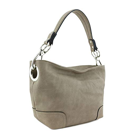 Small Hobo Shoulder Bag with Snap Hook Hardware (Stone)