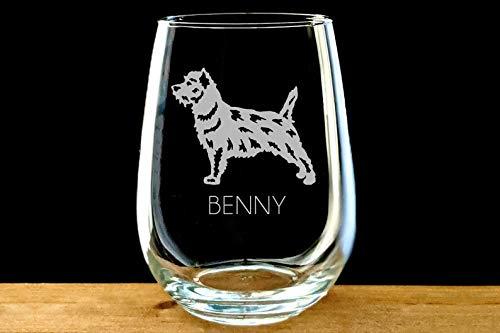 Wijnglas, Terrier Wijnglas, Gegraveerd Stemless, Gepersonaliseerde Norfolk Terrier, Norwich Terrier, Australische Terrier, Grens Terrier Kerstcadeau