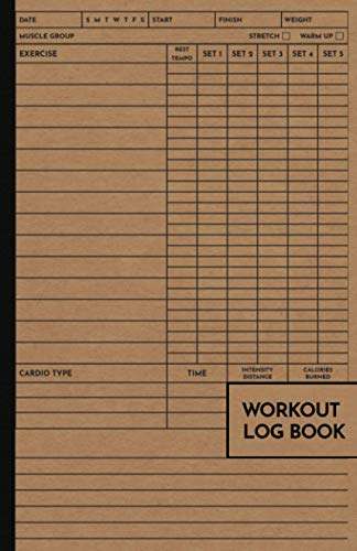 Workout Log Book: Exercise Notebook and Fitness Journal for Personal Training, Weight Lifting and Cardio, Gym Planner for Men and Women, Old School Style Cover
