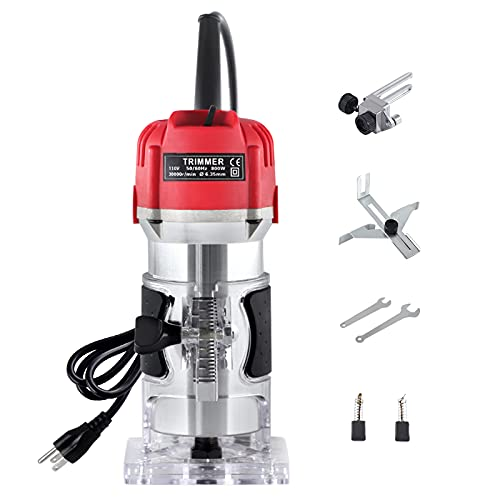 800W Electric Wood Trim Router,Handheld Compact Palm Router for Woodworking,Hand Wood Trimmer Trimming Machine Joiners Tool 30000R/MIN 110V