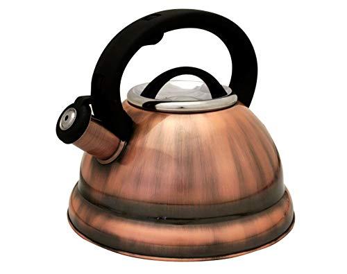 2.8 L Antique Copper Stainless Steel Whistling Tea Kettle Tea Maker Pot 3 Quarts