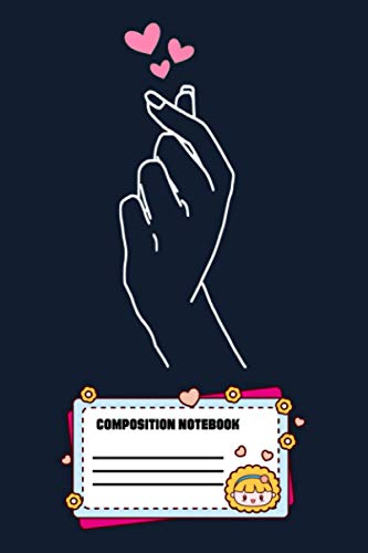 Korean Finger Hear Kpop Merchandise S AN Notebook: 120 Wide Lined Pages - 6