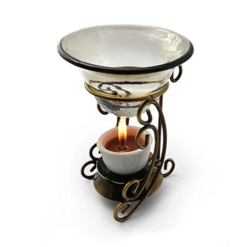 Duftlampe, Aromalampe auf legiertem Metall / Glas, 2 teilig, Aromabrenner, für ätherische Öle, mit Glasschälchen – Marke Ganzoo