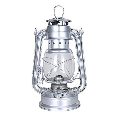 jiashemeng Petroleumlampe, 25cm Vintage Kerosinlampe Tragbares Campingzelt Licht Hängende Laterne Dekor, Retro Petroleumlampen Klassische Öllampe Tischlaternen Silber