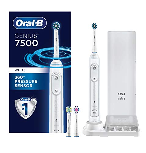 Oral-B 7500 Power Rechargeable Electric Toothbrush with Replacement Brush Heads and Travel Case, White