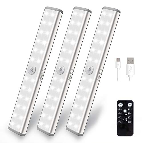LITAKE 20-LED Under Cabinet Lights with Remote ,Dimmable Wireless Under Cabinet Lighting with Timer, USB Rechargeable ,Stick-on Anywhere LED Night Light Bar for Closet Wardrobe Display Case.3 Packs