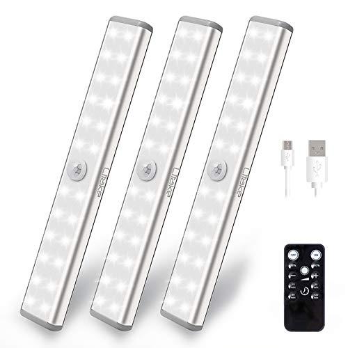 Litake 20 wiederaufladbare LED-Unterschrankbeleuchtung, kabellos, dimmbar, Schrankbeleuchtung mit Timer, Fernbedienung, magnetisches LED-Nachtlicht für Schrank, Kleiderschrank, Vitrine, 3 Packungen