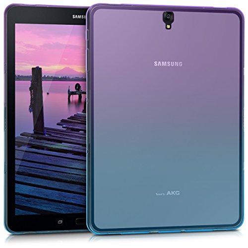 kwmobile Funda Compatible con Samsung Galaxy Tab S3 9.7 T820 / T825 - Carcasa Trasera para Tablet de TPU - Bicolor Violeta/Azul/Transparente