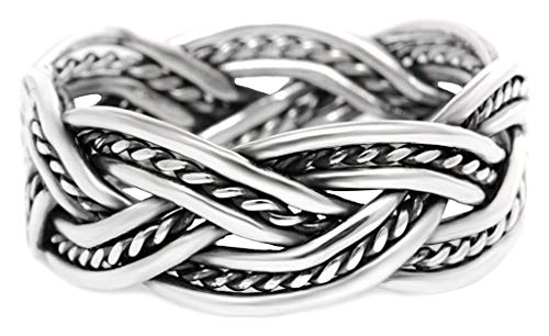 WINDALD Vikings Unisex Vintage Ring THORNGAD 0.8 cm Partner Silberring Zopf-Muster Bohemia Geflochtener Freundschaftsring Handgeschmiedet aus 925 Sterlingsilber (Silber, 54 (17.2))