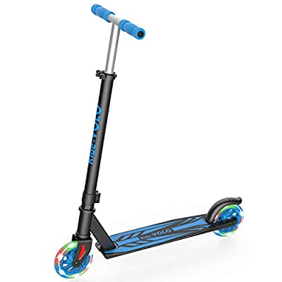 RideVOLO K05 Kick Scooter, PU Flash Wheels, 3 Adjustable Heights, Lightweight Aluminum Alloy Frame(Only 5.19b), ABEC-4 Wheel Bearings, Max Load 110lbs(Silver)