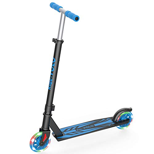RideVOLO K05 Kick Scooter , PU Flash Wheels, 3 Adjustable Heights, Lightweight Aluminum Alloy Frame(Only 5.19b), ABEC-4 Wheel Bearings, Max Load 110lbs (Black)