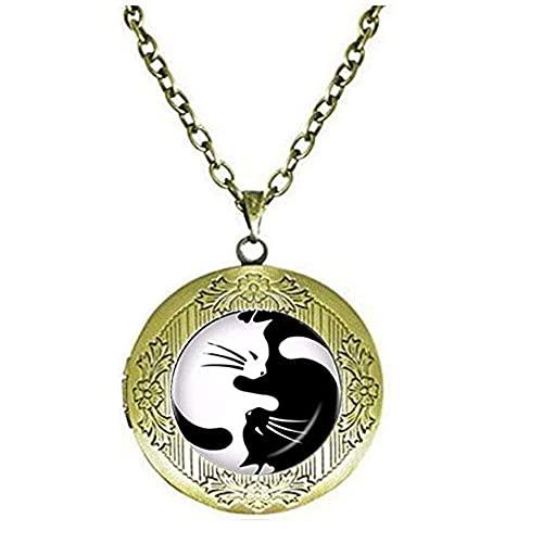 Yin Yang Gargantilla con medallón de dos Ying Yang Gatos Collar con medallón de Gatos Joyería de Gatito Chino Ocho Diagramas Locket Collar