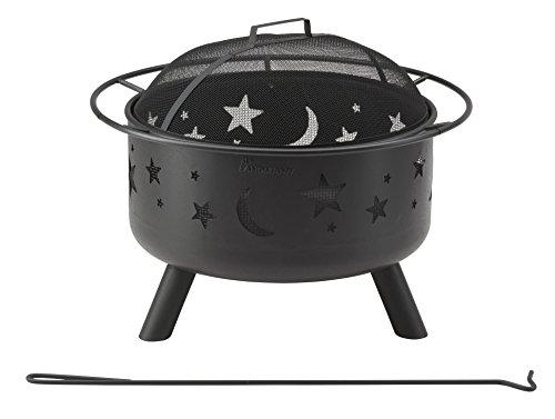 Landmann Feuerkorb 'Stars and Moon' | Massive Stahlkonstruktion inkl. Abdeckhaube mit Meshgitter zum Schutz vor Funkenflug | Inkl. Schürhaken