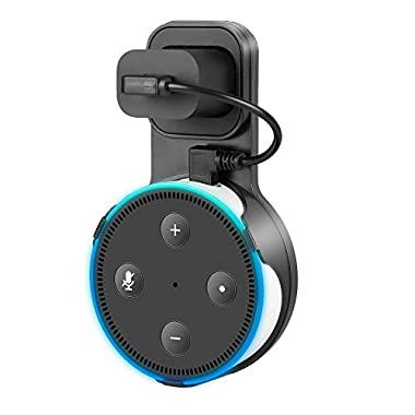 Dot Holder,Myguru Outlet Wall Mount with Short Charging Cable for Dot 2nd Generation,Dot Accessories Plug in Office,Bathroom And Kitchen (Black)