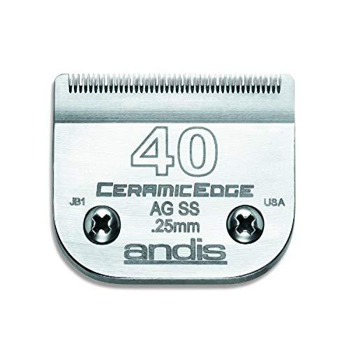 Andis CeramicEdge Hoja de cortapelos de Acero con infusión de Carbono, tamaño 40SS, Longitud de Corte de 1/100 Pulgadas (64350)