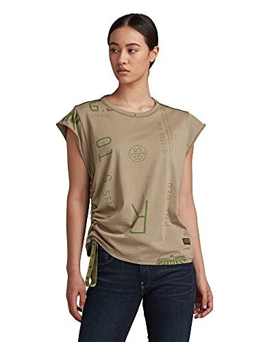 G-STAR RAW GSRAW Knot Cap Sleeve Camiseta, Hatton Contour Camo C340-c504, S para Mujer