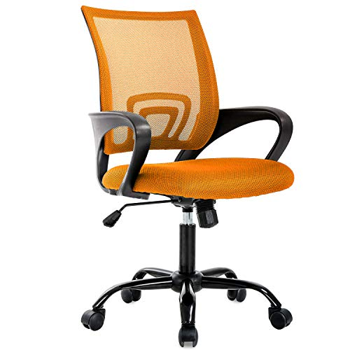 Ergonomic Office Chair Cheap Desk Chair Mesh Computer Chair with Lumbar Support Modern Executive Adjustable Comfortable Mid Back Chair Task Rolling Swivel Chair for Home&Office, Orange