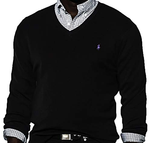 Polo Ralph Lauren Men's Pima Cotton V-Neck Sweater (Medium, Jet Black 2000 / Madeira)