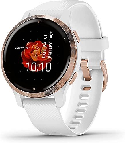 Garmin Venu 2S - Smartwatch per donna, Display AMOLED, 40mm, GPS, Cardio, SpO2, Workout HIIT, Garmin Coach, Garmin Pay, Musica (Rosegold & White)