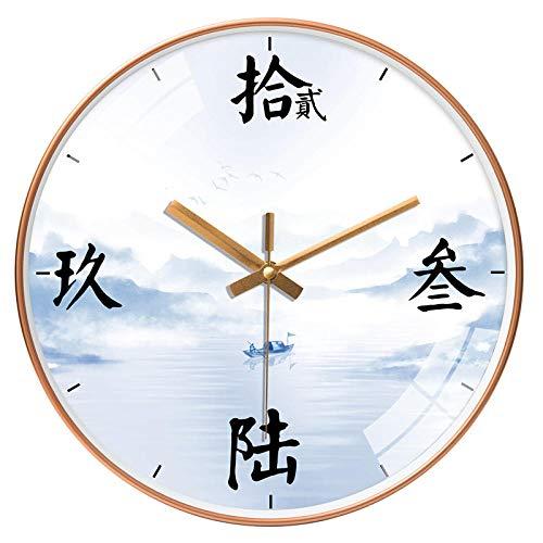 ZZLHHD RelojdeParedDiseñomatemáticoNuevorelojdepareddesaladeestardeestilochino-204gParedEstiloModernoRelojRonda
