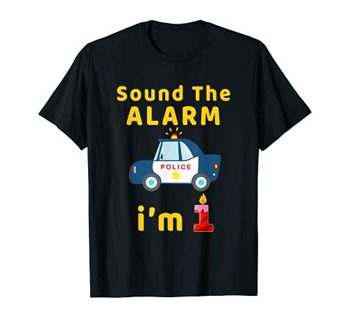 Niños sonan la alarma I AM 1 año de edad coche de policía Camiseta