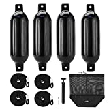 Affordura Boat Fender 4 Pack Boat Bumpers Fenders with 4 Ropes, Boat Bumpers for Pontoon Boat Fenders Inflatable, 5.5 inch