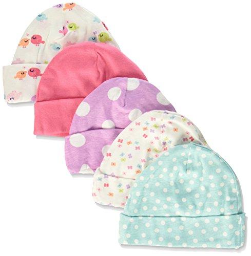 Gerber Baby Girls' 5-Pack Caps, Little Birdie, 0-6 Months