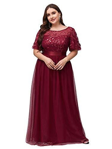 Ever-Pretty Damen Elegant Empire A-Linie Bodenlang Kurze Ärmel Tüll große Größe Abendkleider Burgund 58
