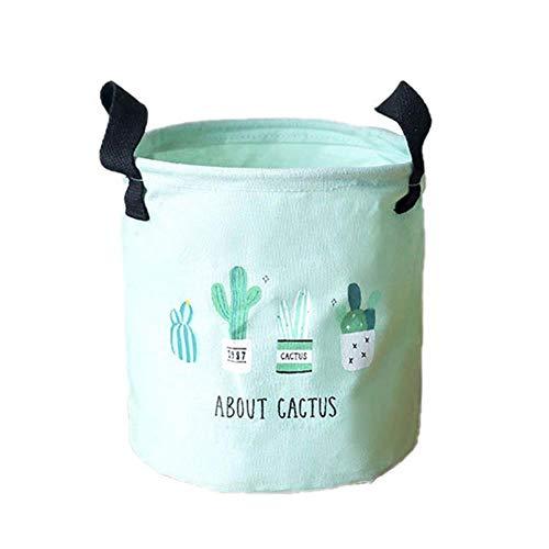 Aimili Cesta de almacenamiento, tejido de cactus, algodón y lino, para escritorio, para almacenamiento, para baño, salón, dormitorio, cesta de almacenamiento, 20 x 20 cm, color verde
