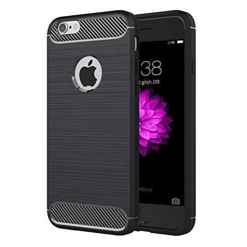 Wdckxy - Funda protectora para iPhone 6 Plus y 6S Plus, textura cepillada de fibra de TPU (color: negro)