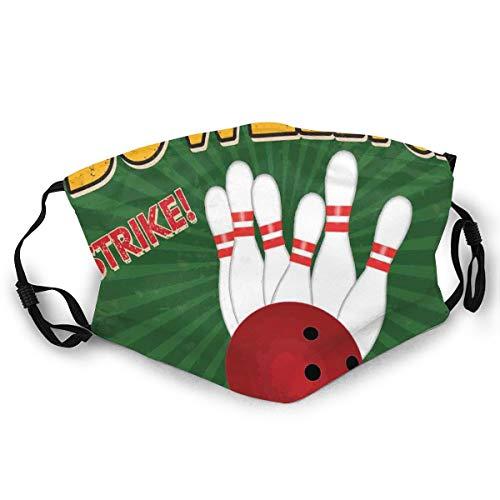 Bowling Balls And Pins Design Western Sport Hobby Vrije tijd Winnaar Kunst Print veiligheid monddeksel voor volwassenen