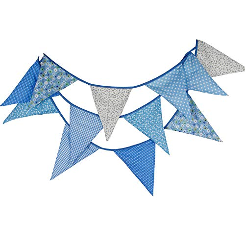 G2PLUS Extra Large Bunting 12 Feet Flag Banner Pennant Flag Garlands Fabric Triangle Flags Double Sided Vintage Cloth Shabby Chic Decoration for Birthday Parties Ceremonies Kitchen Bedrooms (Blue)
