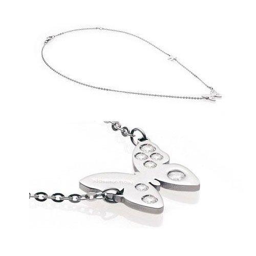 Nomination Butterfly Halskette aus Edelstahl und weißem Stein mit Anhänger und geschmückter Kette