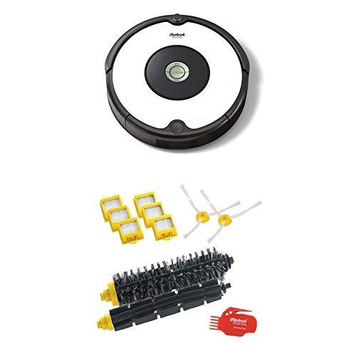 IRobot Roomba 605 Saugroboter (hohe Reinigungsleistung, reinigt alle Hartböden und Teppiche, geeignet bei Tierhaaren) weiß + Total Kit Bürsten für Roomba Serie 700, Original