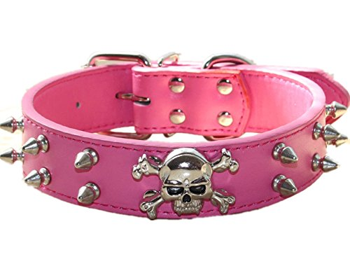 haoyueer Collar de perro de piel con pinchos – 2 filas de remaches de bala tachonado de piel sintética – Cool Skull Pet Accesorios para perros medianos y grandes … (L, rosa caliente)
