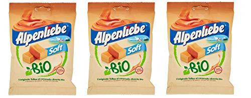 3x Perfetti Alpenliebe Soft Bio Caramelle Morbide Toffee al caramello Bio-Bonbons mit weichem Karamellgeschmack Glutenfrei zuckerfreie Süßigkeiten Lollies 80g Beutel