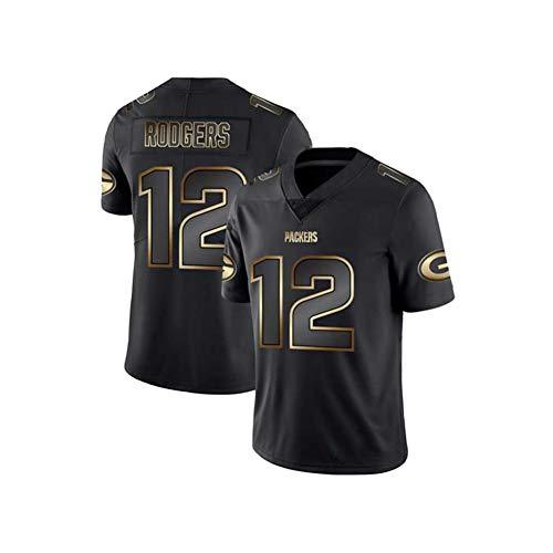 YOYO Camisetas de Rugby para Hombres y Mujeres, Green Bay Packers Rodgers # 12 Fan Edition Bordado Camiseta de fútbol Ropa Deportiva de fútbol...