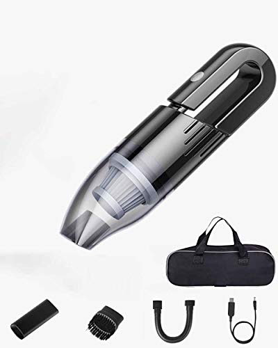 Aspiradora de Mano sin Cable Potente, Aspirador de Coche de 7.4V 120W 6000PA, Luz LED, Filtro Lavable, Aspiradora Recargable Portátil Profesional en Seco y Húmedo para Hogar Oficina