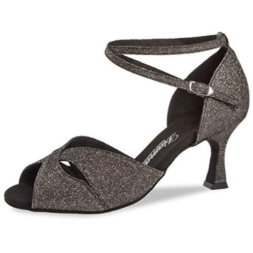 Diamant Damen Latein Tanzschuhe Sandalette 181-087-510 - Brokat Bronze/Glitzer - 6,5 cm Flare [UK 5]