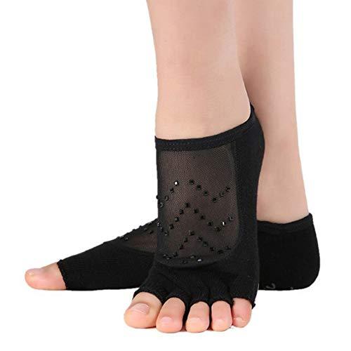 VIWIV Yoga Damen Socken, Fuß Mesh Wolle Und Garn Nähte Baumwolle Slip Socken, Geeignet Für Fitness Pilates Ball Sportsocken (2 Paar),1