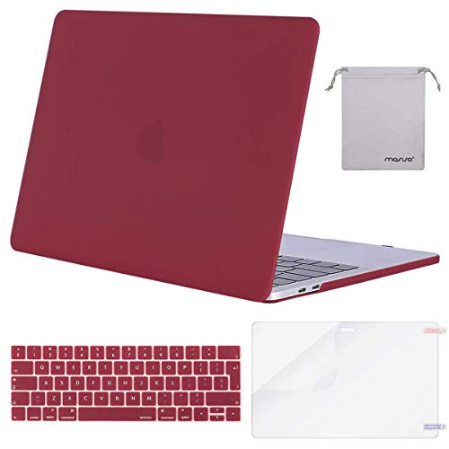 MOSISO MacBook Pro 15 inch Case 2019 2018 2017 2016 Release A1990/A1707, Plastic Hard Shell & Keyboard Cover & Screen Protector & Storage Bag Compatible with Mac Pro 15 Touch Bar, Wine Red