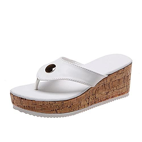 ypyrhh Zapatos Unisex Adulto,Personas de Gran tamaño Arrastre,cuña de Pescado Boca Moda Zapatillas Frescas-Blanco_41,Zapatillas Flip Flops Sandal