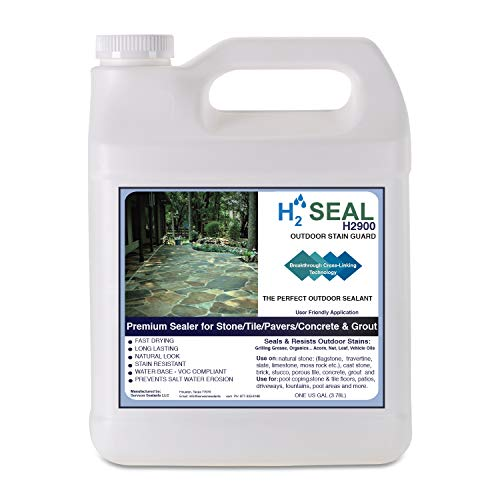 Outdoor Stone Sealer with Stain Guard - for Use on Wide Variety of Stone & Cement - Driveways, Patios, Pool Decks, Garage Floors, and Outdoor Cooking & Entertainment Areas H2Seal H2900 (Gallon)